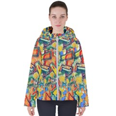 Colorful Painted Shapes                     Women s Hooded Puffer Jacket