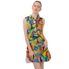 Colorful Painted Shapes                         Sleeveless Shirt Dress by LalyLauraFLM