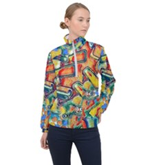 Colorful Painted Shapes                      Women Half Zip Windbreaker
