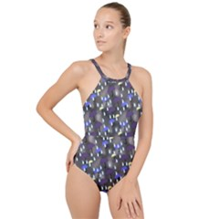 Rain And Umbrellas High Neck One Piece Swimsuit