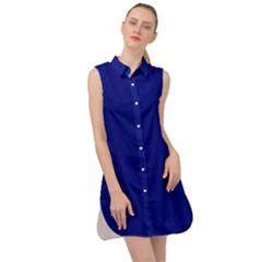 Vibrant Blue Sleeveless Shirt Dress