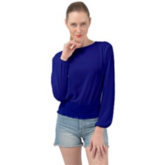 Vibrant Blue Banded Bottom Chiffon Top by blkstudio