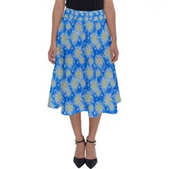 Hydrangea Blue Glitter Round Perfect Length Midi Skirt