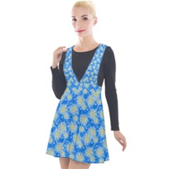 Hydrangea Blue Glitter Round Plunge Pinafore Velour Dress