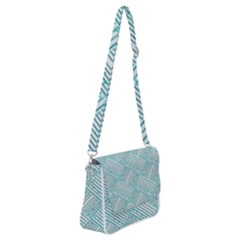 Wood Texture Diagonal Pastel Blue Shoulder Bag With Back Zipper