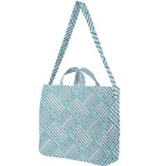 Wood Texture Diagonal Pastel Blue Square Shoulder Tote Bag by Mariart