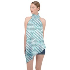 Wood Texture Diagonal Pastel Blue Halter Asymmetric Satin Top by Mariart