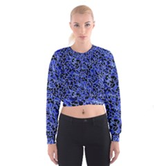 Texture Structure Electric Blue Cropped Sweatshirt by Alisyart