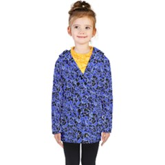 Texture Structure Electric Blue Kids  Double Breasted Button Coat