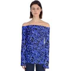 Texture Structure Electric Blue Off Shoulder Long Sleeve Top