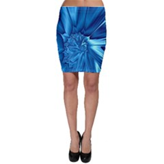 Electric Blue Swirl Fractal Bodycon Skirt