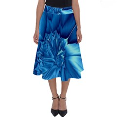Electric Blue Swirl Fractal Perfect Length Midi Skirt