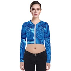 Electric Blue Swirl Fractal Long Sleeve Zip Up Bomber Jacket