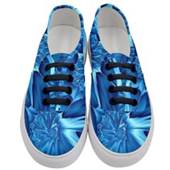 Electric Blue Swirl Fractal Women s Classic Low Top Sneakers