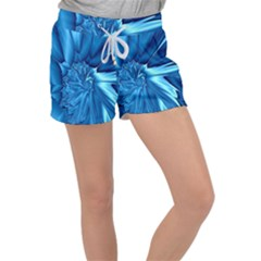 Electric Blue Swirl Fractal Women s Velour Lounge Shorts