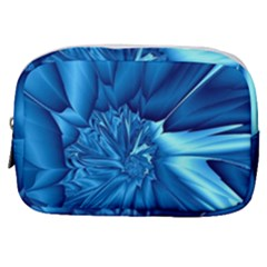 Electric Blue Swirl Fractal Make Up Pouch (small)