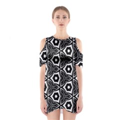 Black White Pattern Shoulder Cutout One Piece Dress