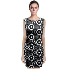 Black White Pattern Sleeveless Velvet Midi Dress