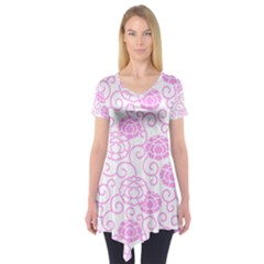 Spring Flowers Plant Short Sleeve Tunic  by HermanTelo