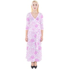 Spring Flowers Plant Quarter Sleeve Wrap Maxi Dress by HermanTelo