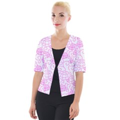 Spring Flowers Plant Cropped Button Cardigan
