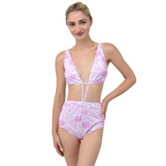 Spring Flowers Plant Tied Up Two Piece Swimsuit