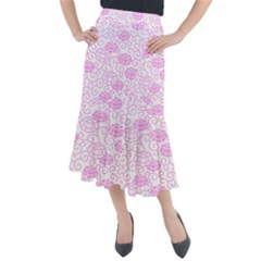 Spring Flowers Plant Midi Mermaid Skirt