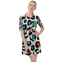 Modern Abstract Animal Print Belted Shirt Dress by tarastyle