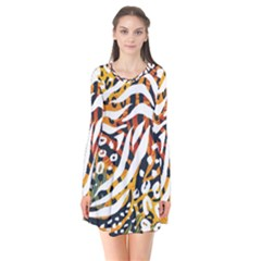 Modern Abstract Animal Print Long Sleeve V Neck Flare Dress by tarastyle