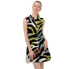 Modern Abstract Animal Print Sleeveless Shirt Dress