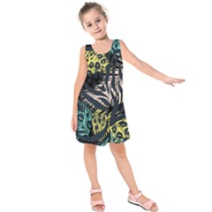 Modern Abstract Animal Print Kids  Sleeveless Dress