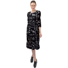 Science Albert Einstein Formula Mathematics Physics Special Relativity Ruffle End Midi Chiffon Dress