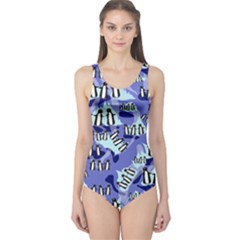Penguins Pattern One Piece Swimsuit by bloomingvinedesign