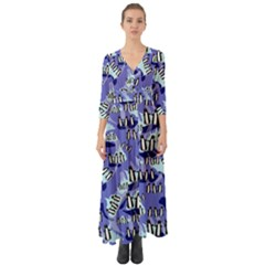 Penguins Pattern Button Up Boho Maxi Dress by bloomingvinedesign