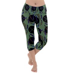 Feathers Pattern Lightweight Velour Capri Yoga Leggings by bloomingvinedesign