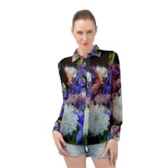 Blue White Purple Mixed Flowers Long Sleeve Chiffon Shirt by bloomingvinedesign