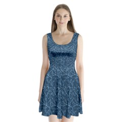 Branches Blue Split Back Mini Dress