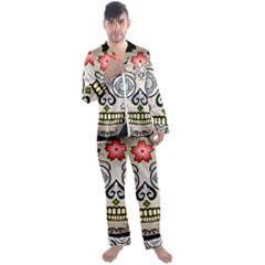 Skull Scary Art Digital Head Men s Satin Pajamas Long Pants Set by Wegoenart