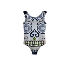 Skull Scary Art Digital Head Kids  Frill Swimsuit