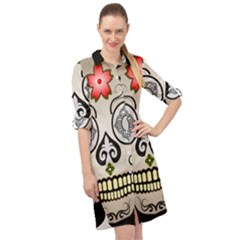 Skull Scary Art Digital Head Long Sleeve Mini Shirt Dress