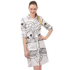 Cute Cat Coloring Page Design Long Sleeve Mini Shirt Dress