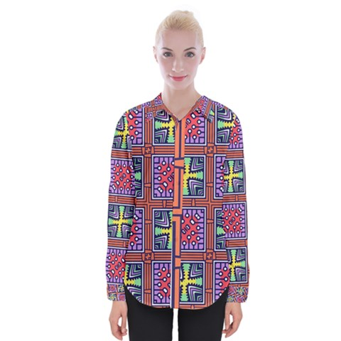 Shapes In Squares Pattern                       Women Long Sleeve Shirt by LalyLauraFLM