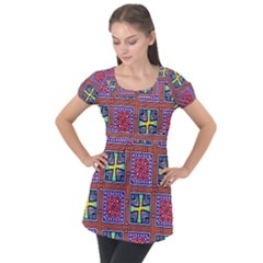 Shapes In Squares Pattern                      Puff Sleeve Tunic Top by LalyLauraFLM
