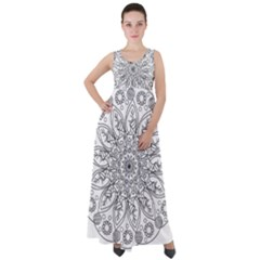 Flowers Mandala Hand Drawing Empire Waist Velour Maxi Dress