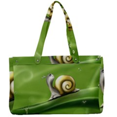 Snail Drops Rain Drawing Green Canvas Work Bag by Wegoenart