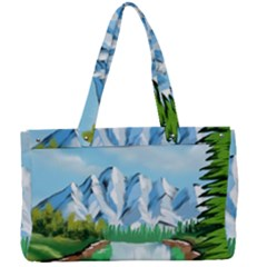 Digital Design Landscape Mountains Canvas Work Bag by Wegoenart