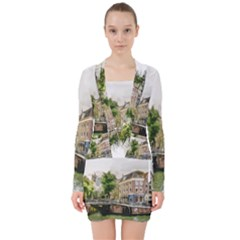 Amsterdam Holland Canal River V-neck Bodycon Long Sleeve Dress
