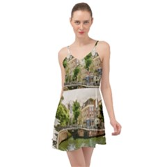 Amsterdam Holland Canal River Summer Time Chiffon Dress