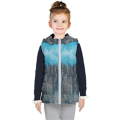 Cityscape Buildings Skyscraper Kids  Hooded Puffer Vest by Wegoenart