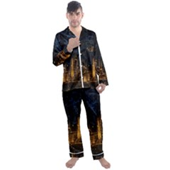 Architecture Buildings City Men s Satin Pajamas Long Pants Set by Wegoenart